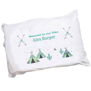 Personalized Childrens Pillowcase with Teepee Aqua Mint design