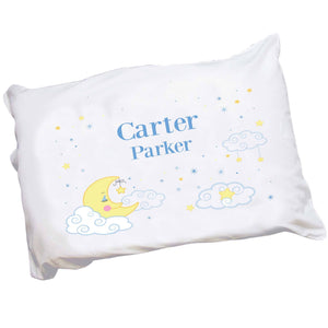 Personalized Babys Moon and Stars Pillowcase