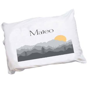 Personalized Childrens Pillowcase with Misty Mountain design