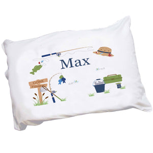 Personalized Childrens Pillowcase with Gone Fishing design