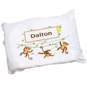 Personalized Childrens Pillowcase with Monkey Boy design