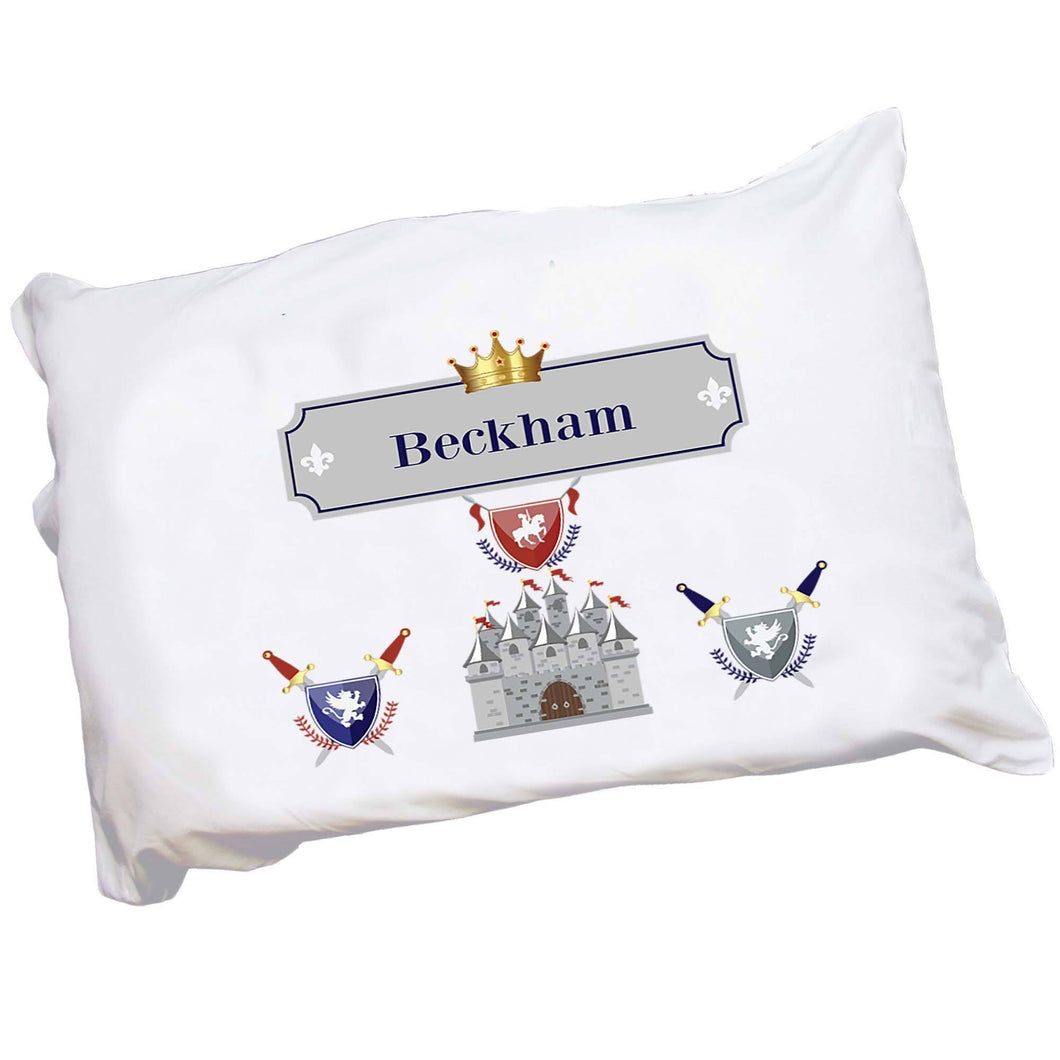 Personalized Childrens Pillowcase with Medieval Castle design