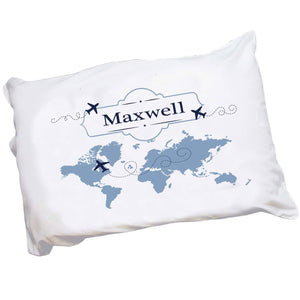 Personalized Childrens Pillowcase with World Map Blue design