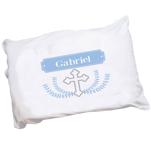 Personalized Childrens Pillowcase with Cross Garland Lt Blue design