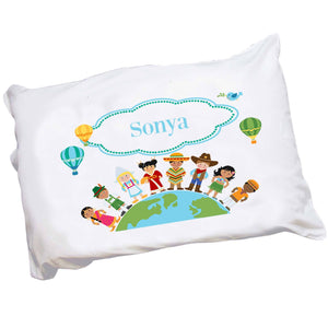 Personalized Childrens Pillowcase with Small World design