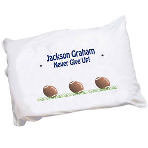 Personalized Pillowcase with Footballs