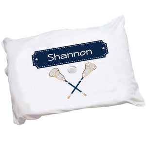 Personalized Childrens Pillowcase with Lacrosse Sticks design