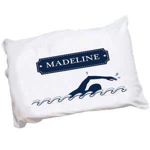 Personalized Childrens Pillowcase with Swim design