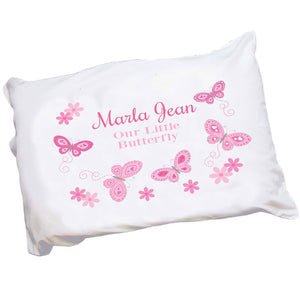 Personalized Pink Butterflies Pillowcase