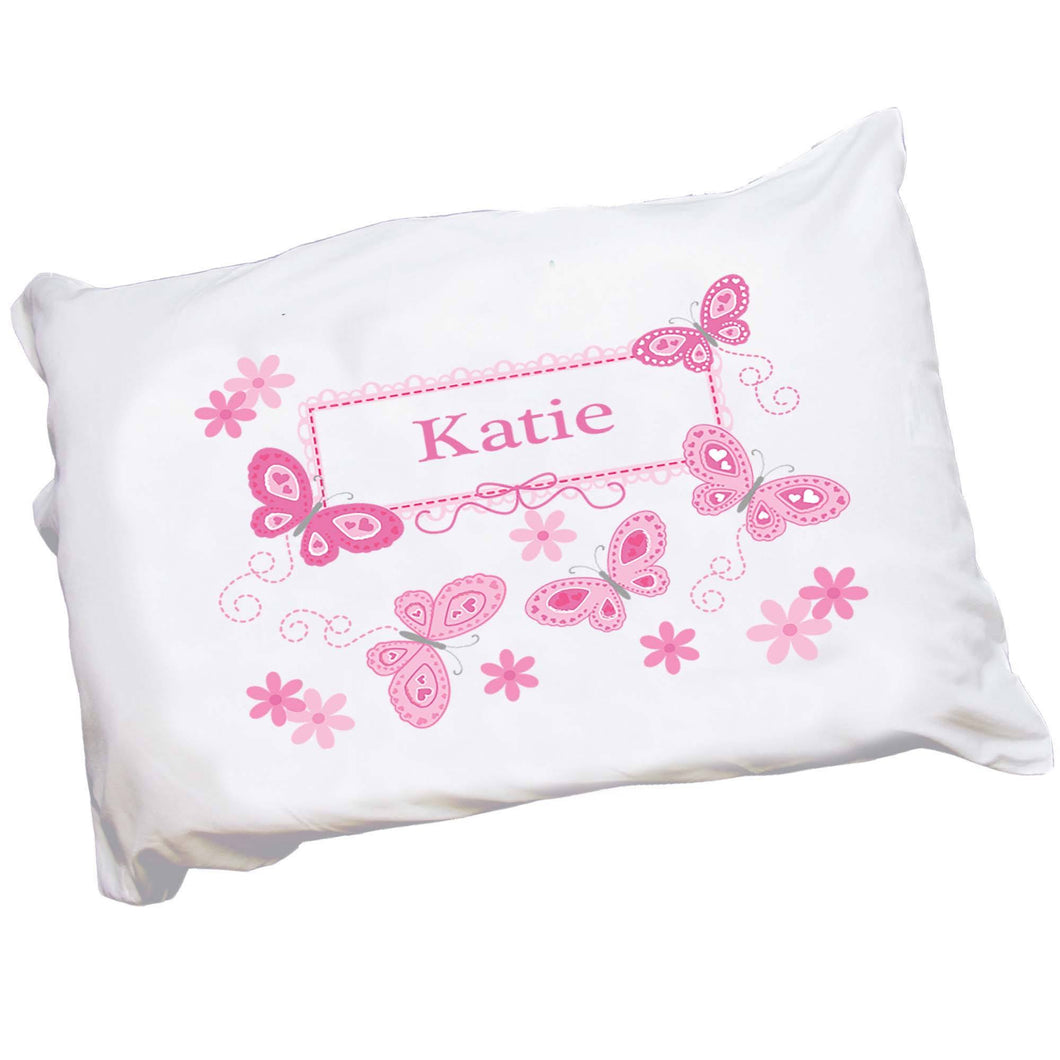 Personalized pink butterfly Pillowcase