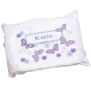 Personalized lavender purple butterfly Pillowcase
