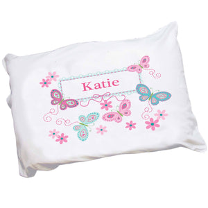Personalized Childrens Pillowcase with Butterflies Aqua Pink design