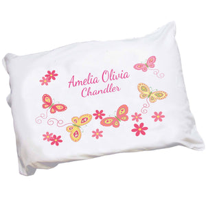 Personalized Childrens Pillowcase with Butterflies Yellow Pink design