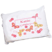 Girls Personalized yellow pink butterflies Pillowcase