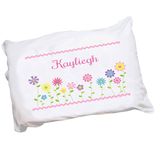 Personalized Childrens Pillowcase with Stemmed Flowers design