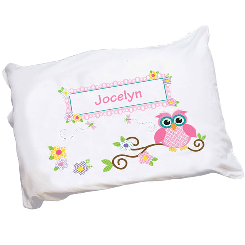 Personalized Childrens Pillowcase with Pink Owl design