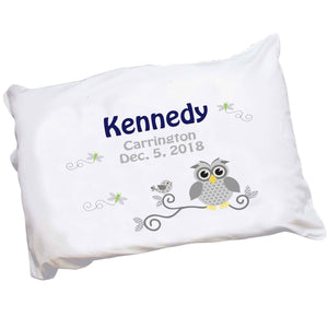 Personalized Gray Owl Pillowcase