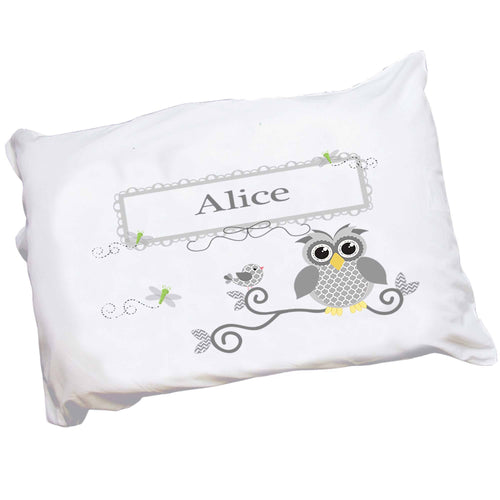Personalized Childrens Pillowcase with Gray Owl design