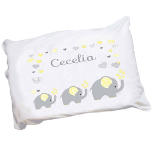 Personalized Childrens Pillowcase Yellow and Gray Elephants