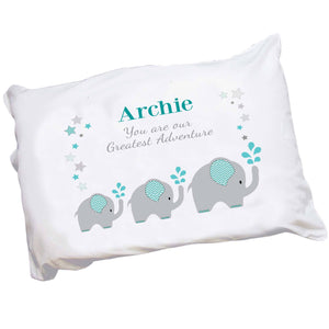 Personalized Teal Elephant Pillowcase