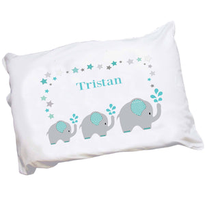 Personalized Childrens Pillowcase with Grey and Teal Elephant design