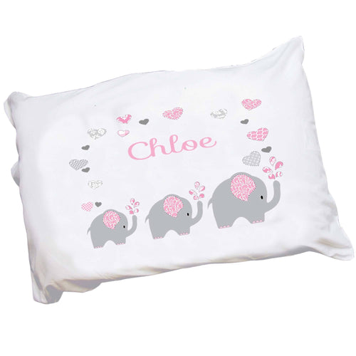 Personalized Girls Pink and Gray Elephant Pillowcase
