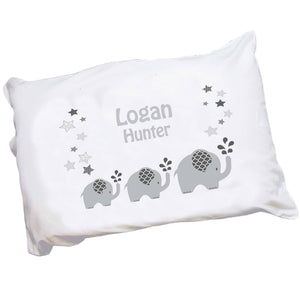 Childs Personalized gray elephant pillowcase