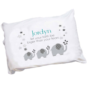 Personalized Gray Elephants Pillowcase