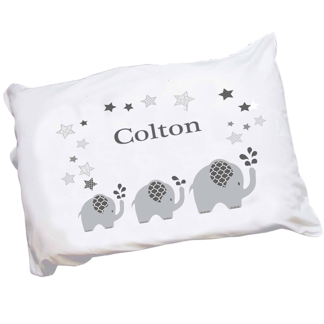 Personalized Childrens Pillowcase with Gray Elephant design