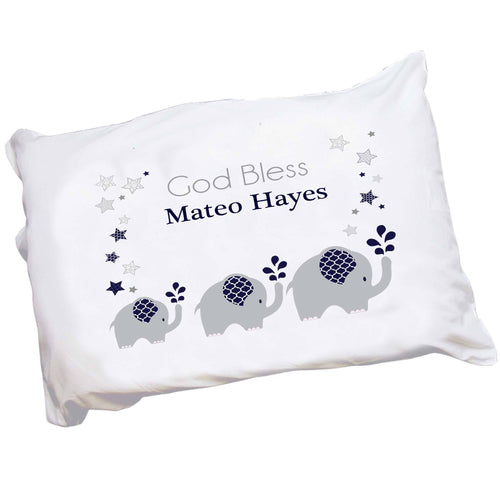 Childs Personalized navy blue and gray elephant pillowcase
