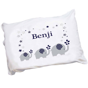 Personalized Childrens Pillowcase with Navy Elephant design