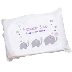 Personalized Childrens Pillowcase with Lavender Elephants