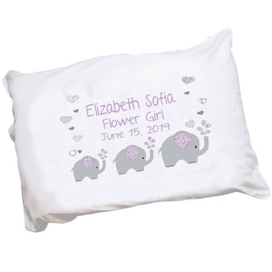 Personalized Lavender Elephant Pillowcase