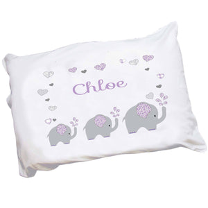 Personalized Childrens Pillowcase Purple Elephants