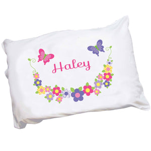 Girls Hot pink purple Butterfly Flower Pillowcase