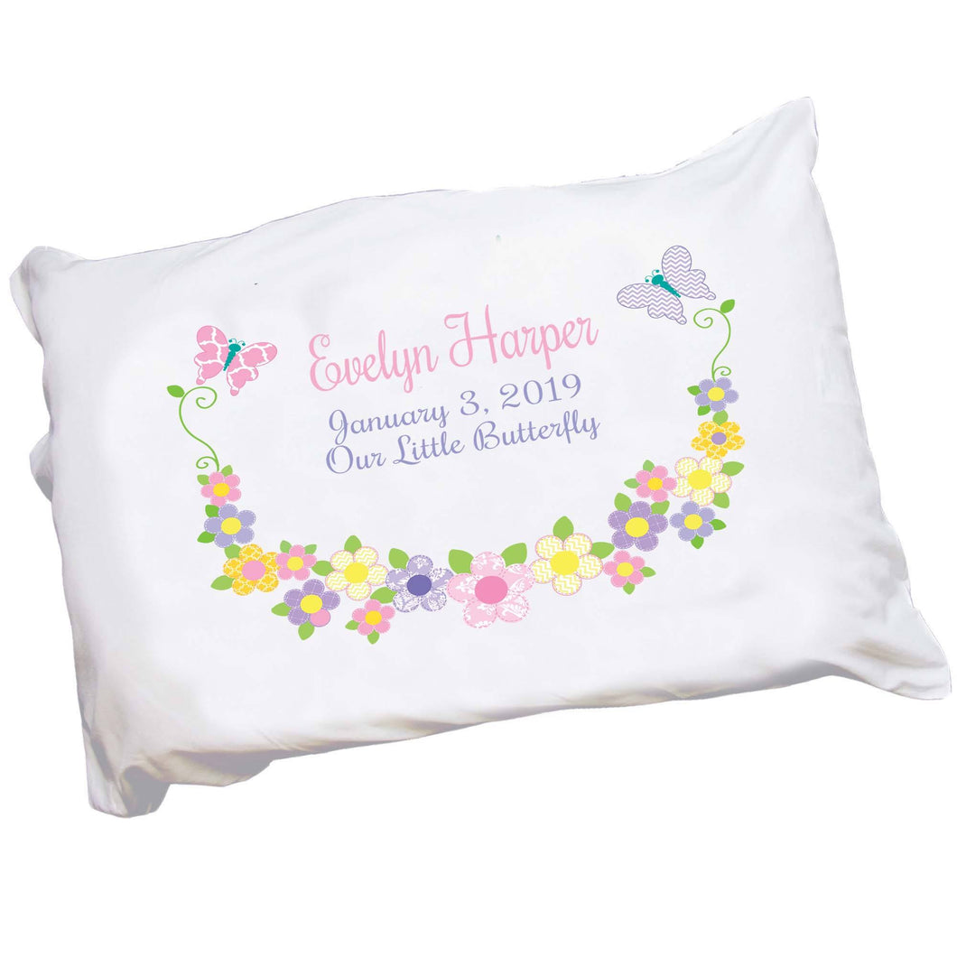 Personalized Girl's Pastel Butterfly Pillowcase