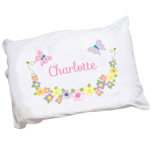 Girls Pastel Butterfly Flower Pillowcase