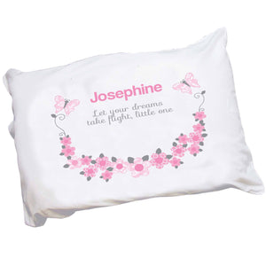 Personalized Pink Gray Garland Pillowcase