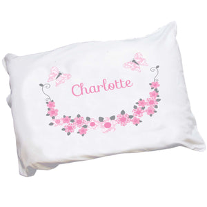Personalized Childrens Pillowcase with Pink and Gray Butterflies design