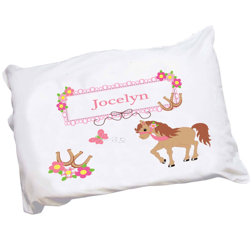 Personalized Childrens Pillowcase with Ponies Prancing design