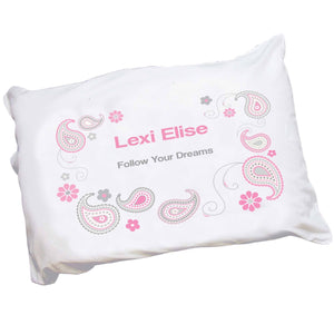 Personalized Childrens Pillowcase with Paisley Pink Gray design