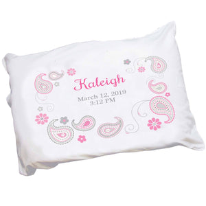 Personalized Pink Gray Paisley Pillowcase