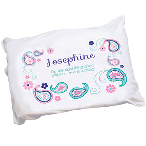 Personalized Pink and Teal Paisley Pillowcase