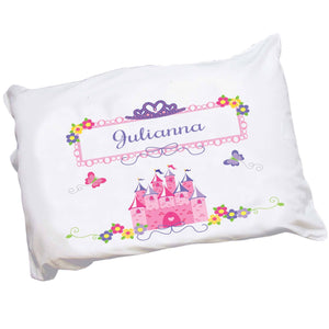 Personalized Girls Pink Purple Princess Castle Crown Pillowcase