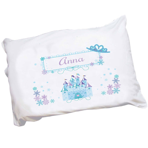 Personalized Girls Blue Princess Castle Crown Pillowcase