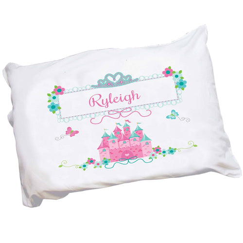 Personalized Childrens Pillowcase with Pink Teal Princess Castle design