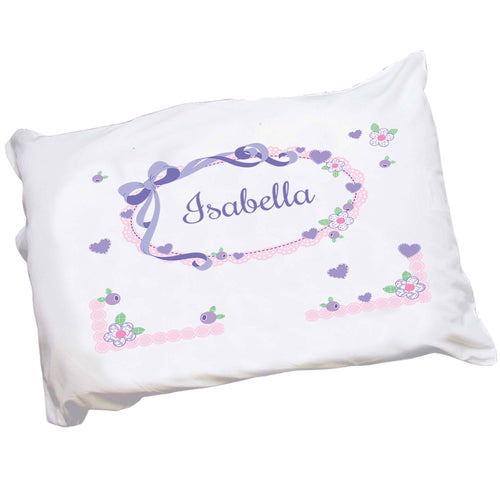 Personalized Girls Lavender Bow and Flower Pillowcase