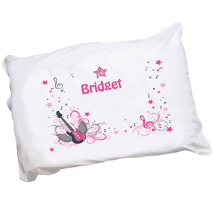 Personalized Childrens Pillowcase with Pink Rock Star design