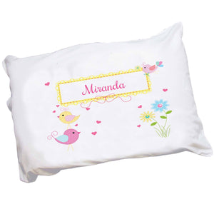 Personalized Childrens Pillowcase with Lovely Birds design