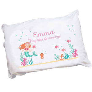 Personalized Childrens Pillowcase with Mermaid Princess design